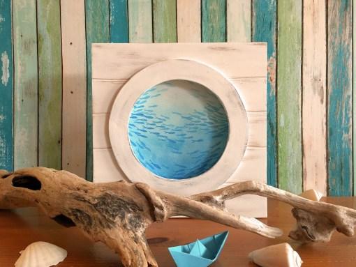 Fischschwarm Holzbild Bullauge