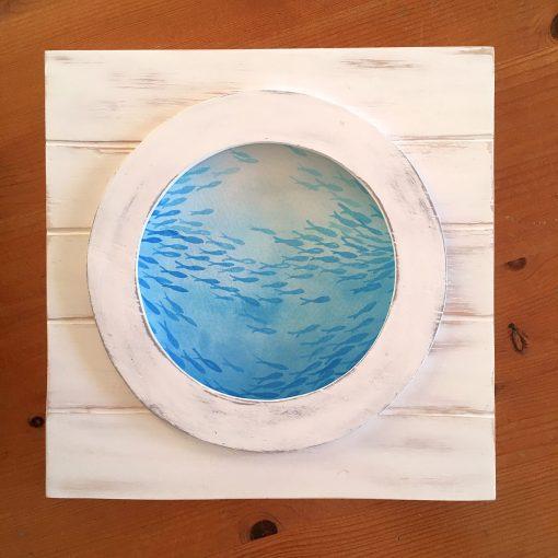 Fische im Meer, Holzbild Fischschwarm