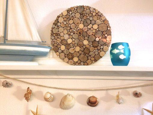 Kreis aus Treibholz Wanddeko