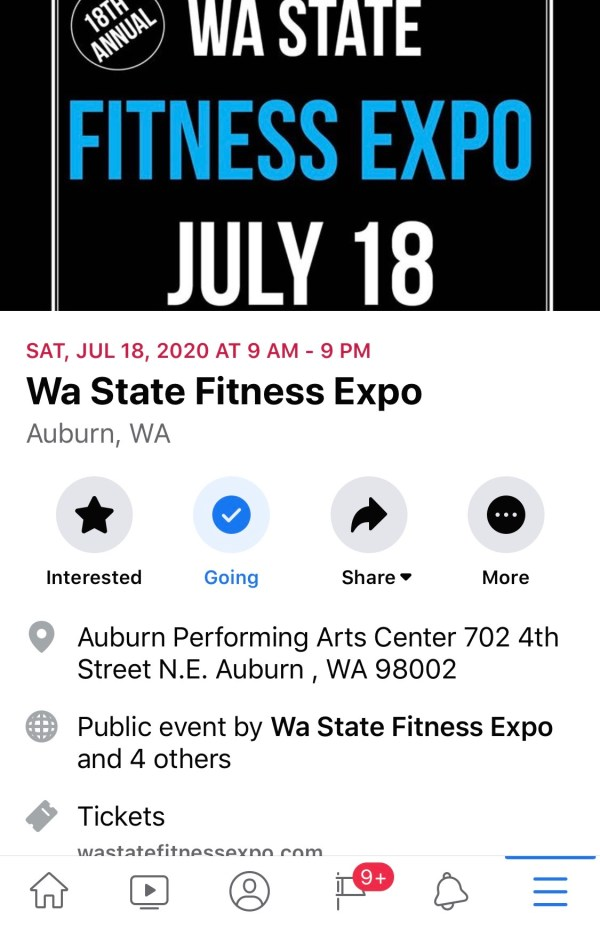 Facebook Event - Wa State Fitness Expo