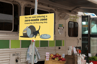 zero waste zone in station illustrating the concept of Zero Waste to Landfill.