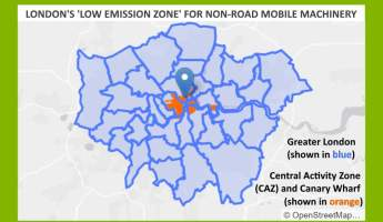 Image shows he map for the particulates emissions reducing Non Road Mobile Machinery emissions (NRMM) Regulations areas London.