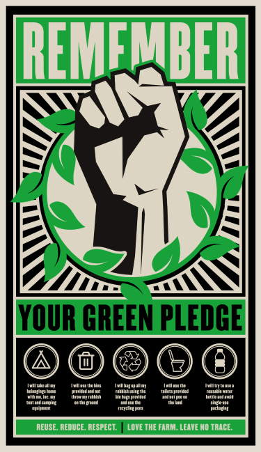 Image shows the Glastonbury Green pledge. A step toward a Zero Waste Event.
