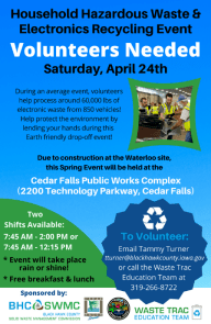 Volunteers are needed for the Spring 2021 Household Hazardous Waste and Electronics Recycling Drop-off Event on April 24th!