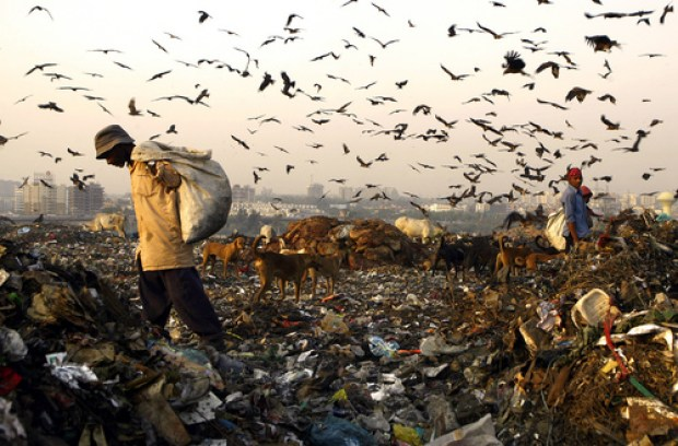 This picture taken 11 October, 2007 shows an Indian man searching through garbage for scrap at a landfill site in New Delhi.  An estimated 300,000 waste collectors -- known as ragpickers here -- rifle through the city's unsegregated rubbish to pick up metal and plastic which they sell on to recycling units.   AFP PHOTO/ Manpreet ROMANA (Photo credit should read MANPREET ROMANA/AFP/Getty Images)