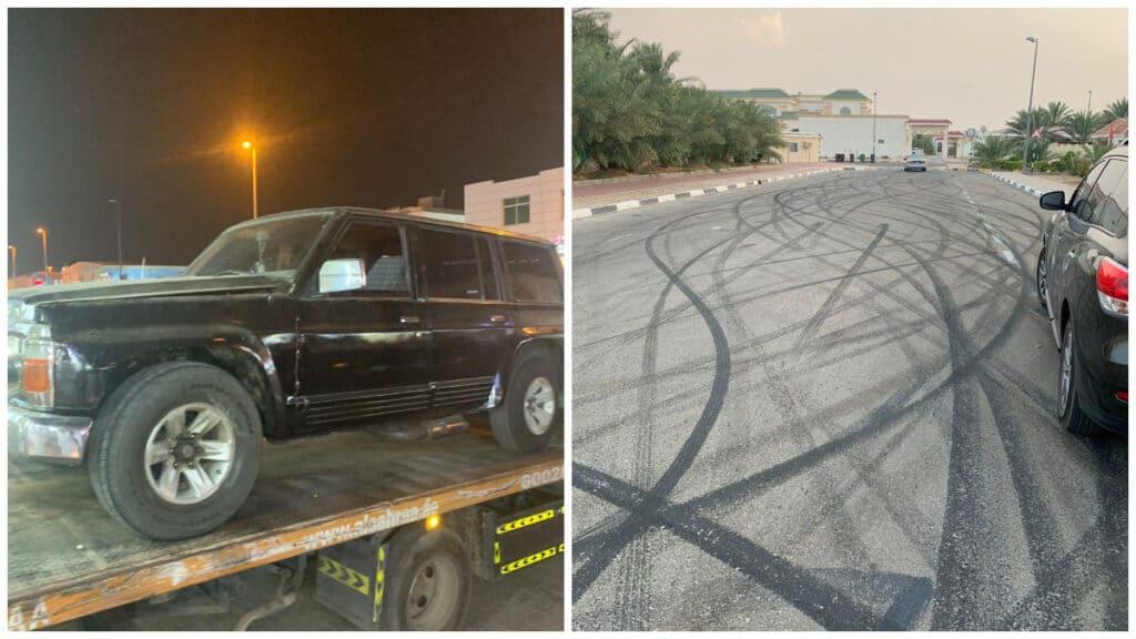 شاب اماراتي مستهتر تسبب في تلف بلاط منشأة عامة عبر التفحيط بسيارته