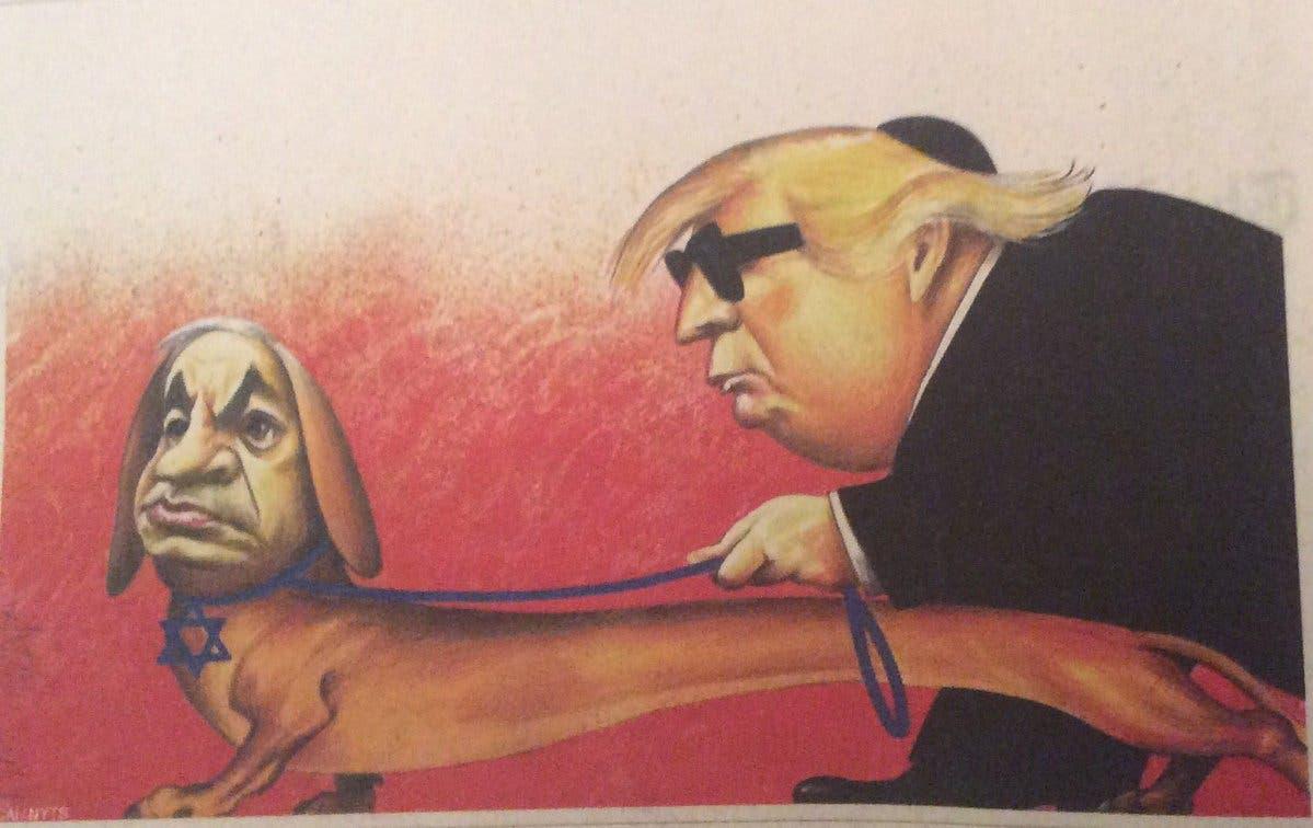 نتنياهو كلبا يُرشد ترامب