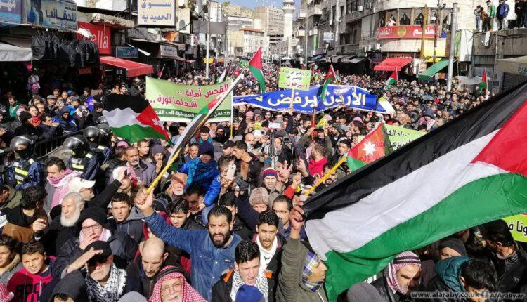 تظاهرات غاضبة رفضا لصفقة القرن في الاردن