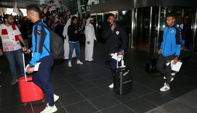 لاعبو الزمالك لحظة وصولهم قطر