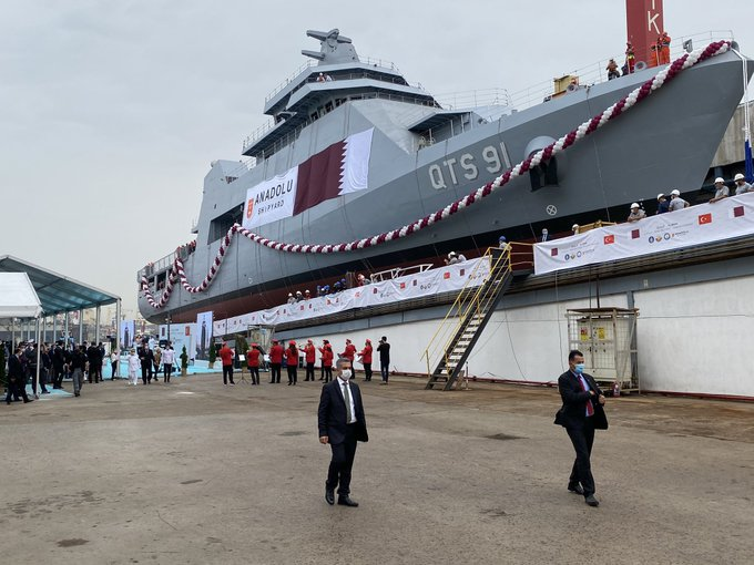 """السفينة الحربية """"الدوحة"""".. """"شاهد"""" قطر تؤمن نفسها ضد غدر الجيران بفخر الصناعة العسكرية التركية"""