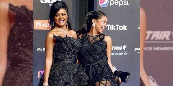 نانسي ابنة رانيا يوسف ترتدي الفستان الفاضح بدون بطانة محمد مختار