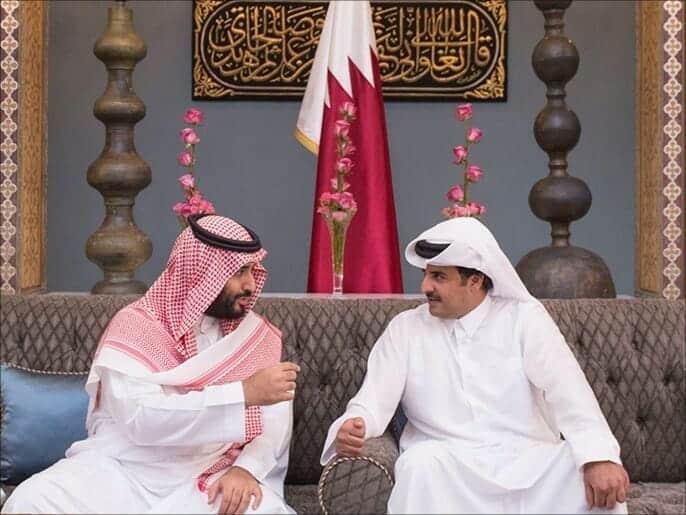 أمير قطر تميم بن حمد و ولي العهد السعودي محمد بن سلمان