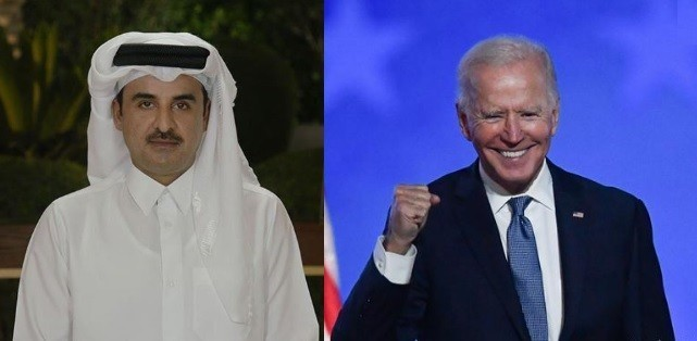 """بينما وضع """"ابن زايد وابن سلمان"""" رأسيهما في الرمل .. أمير قطر يهنّئ بايدن بالفوز وهذا ما قاله"""