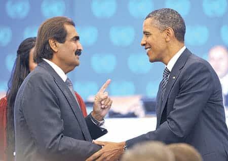 أوباما - أمير قطر الوالد حمد بن خليفة