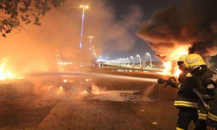 حريق محطة جازان