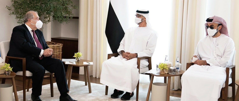 رئيس ارمينيا ومحمد بن زايد وشقيقه طحنون-اتفاق قره باغ