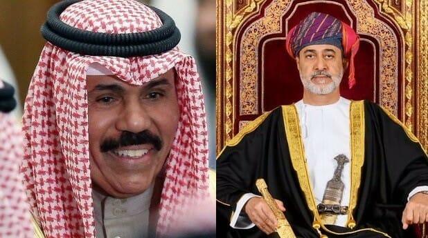 سلطان عمان هيثم بن طارق وأمير الكويت نواف الأحمد ، وفاة الشيخ ناصر الصباح