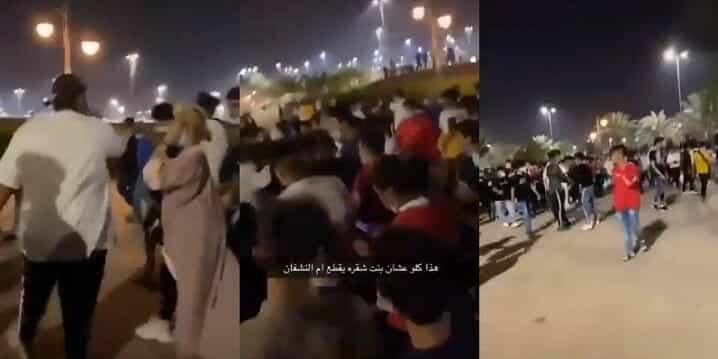 """فيديو صادم .. عشرات السعوديين """"المكبوتين"""" لم يحتملوا رؤية فتاة شقراء بالشارع وهذا ما فعلوا بها"""