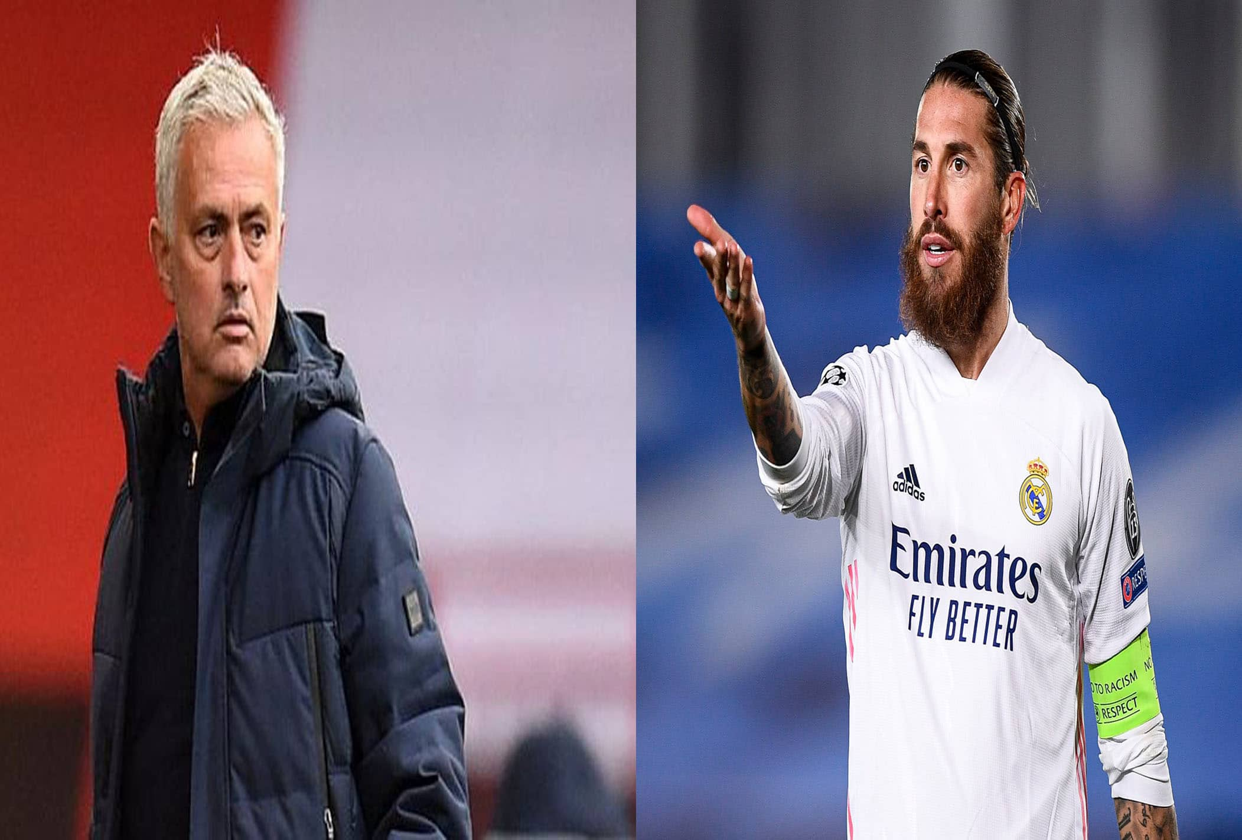 اللاعب الإسباني راموس والمدرب جوزيف مورينيو
