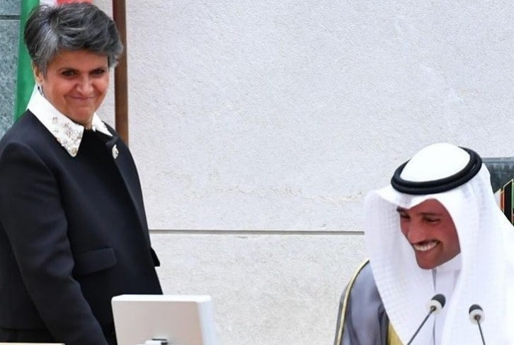 صفاء الهاشم تبارك إعادة انتخاب مرزوق الغانم رئيساً لمجلس الأمة في الكويت