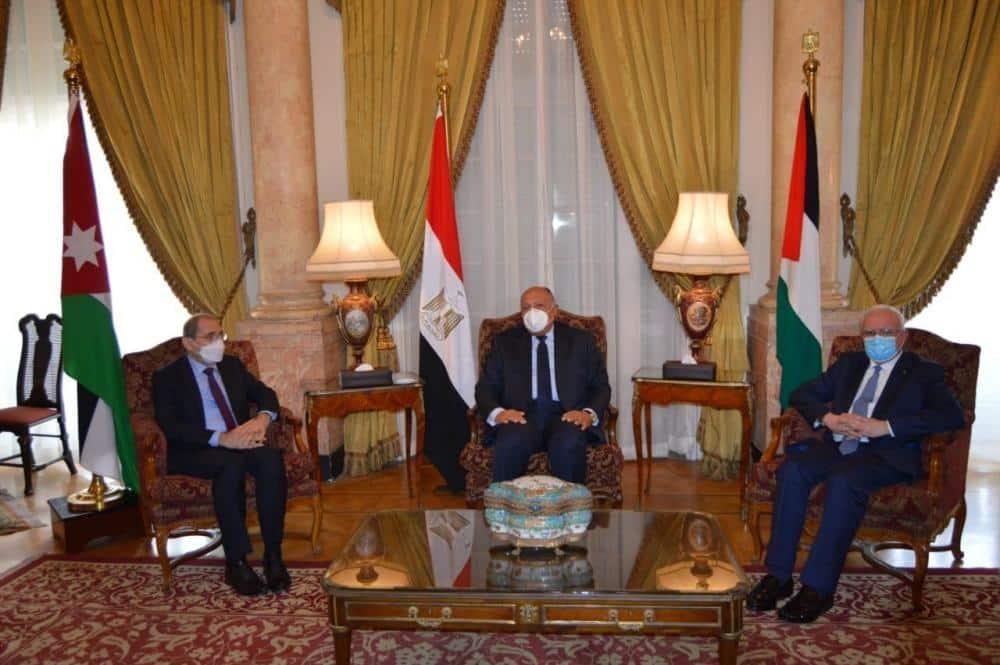 وزراء خارجية فلسطين ومصر والأردن
