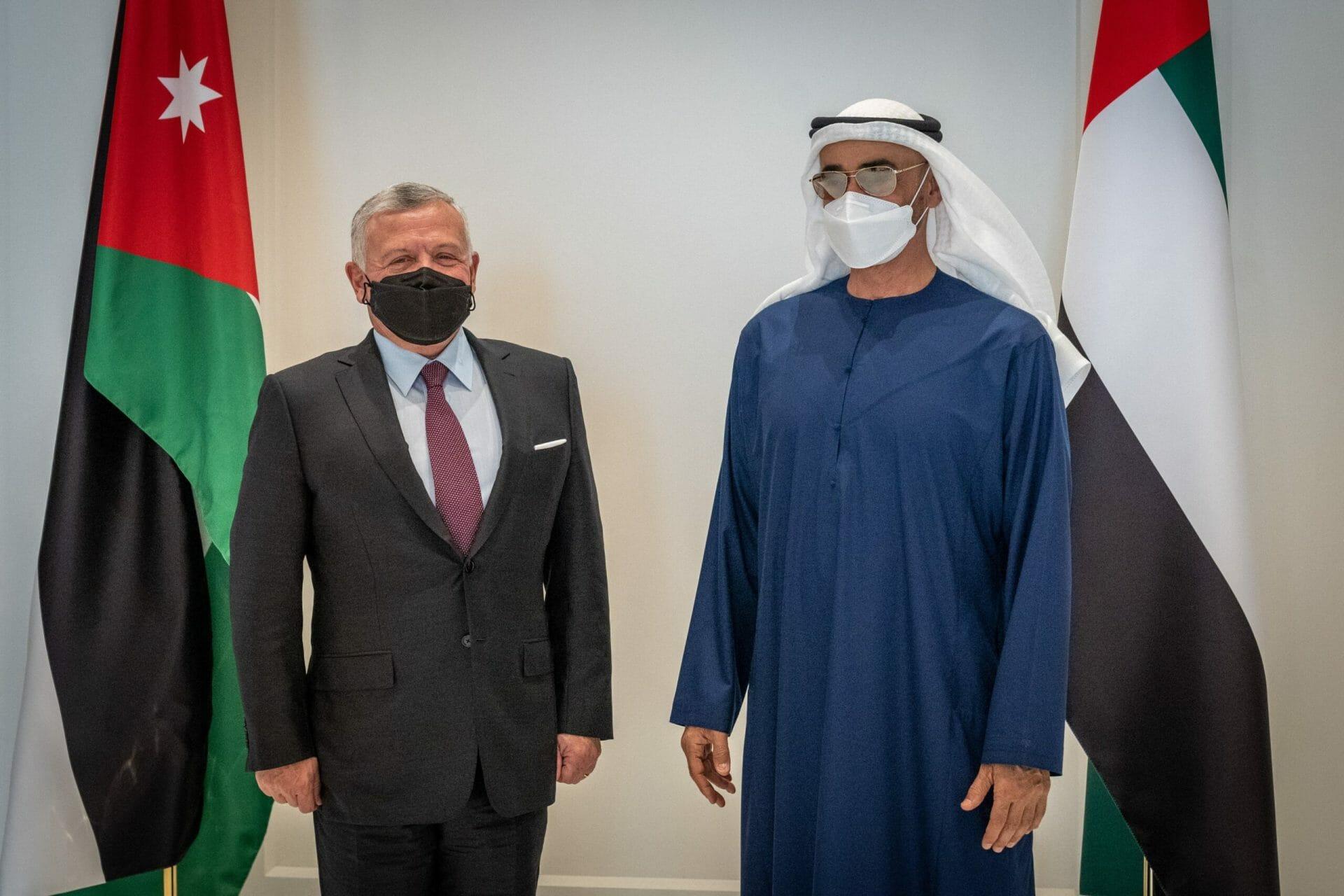 الملك عبدالله الثاني يصل أبوظبي ويلتقي بمحمد بن زايد