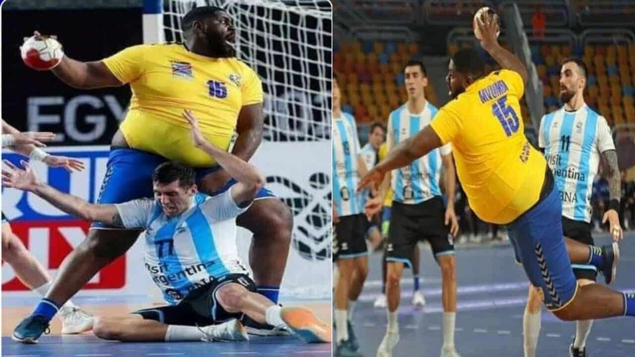 """لاعب الكونغو لكرة اليد """"جواتيير مغومبي"""" يجذب الأنظار بمستواه الرائع على الرغم من وزنه الزائد"""
