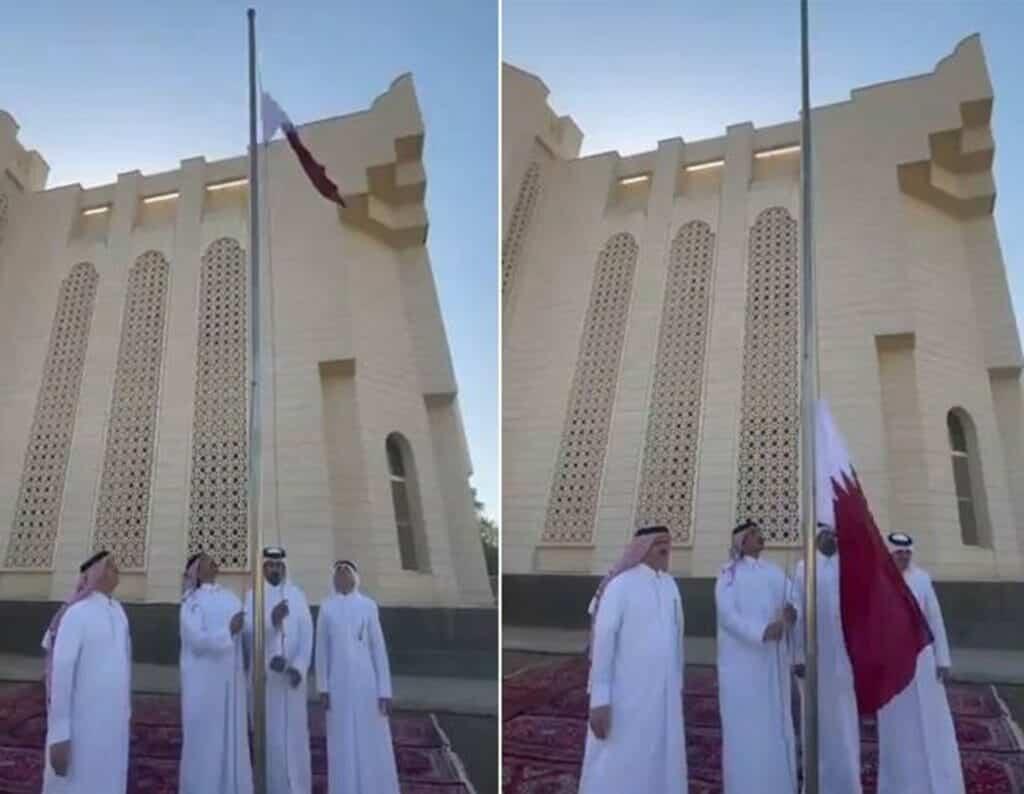 """شاهد علم قطر يرفرف في سماء السعودية بعد سنوات من اعتباره """"تهمة"""" في المملكة"""