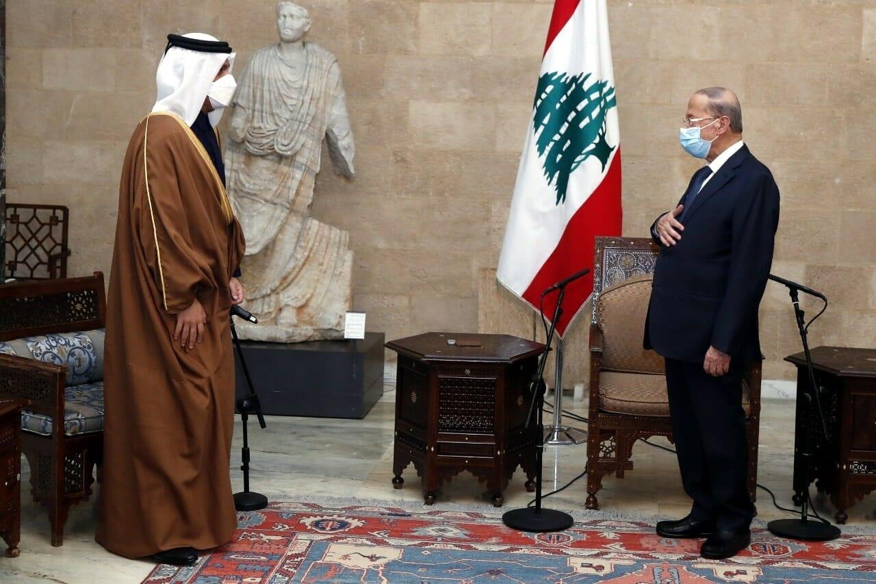 وزير خارجية قطر محمد بن عبدالرحمن خلال لقائه ميشال عون