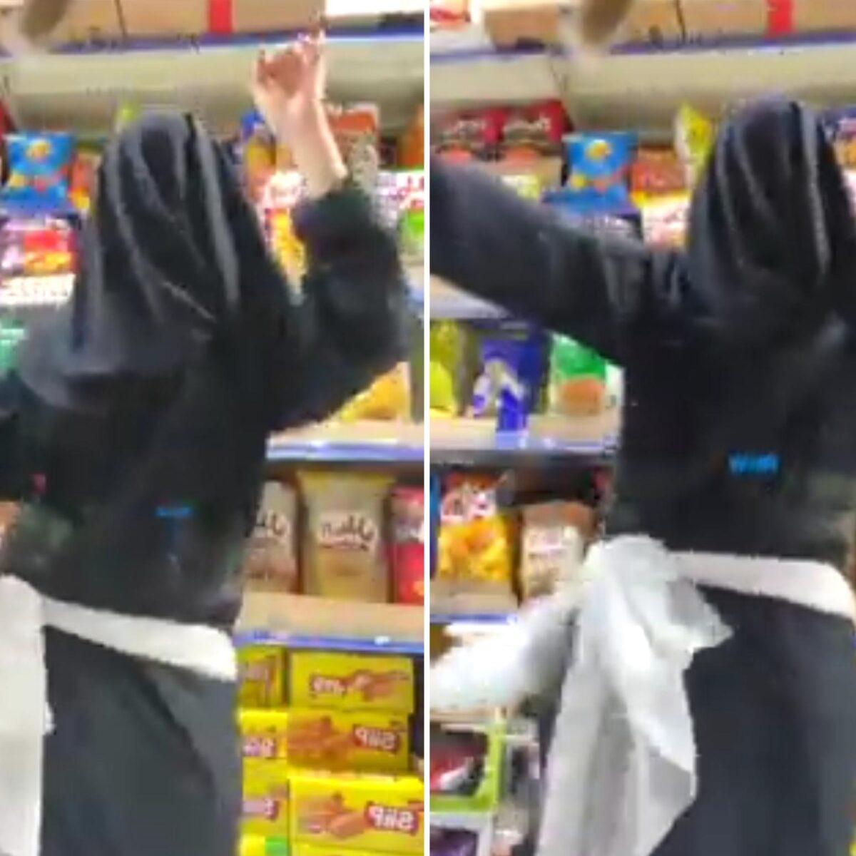 خليجيه ترقص بالعباءه داخل السوبر ماركت