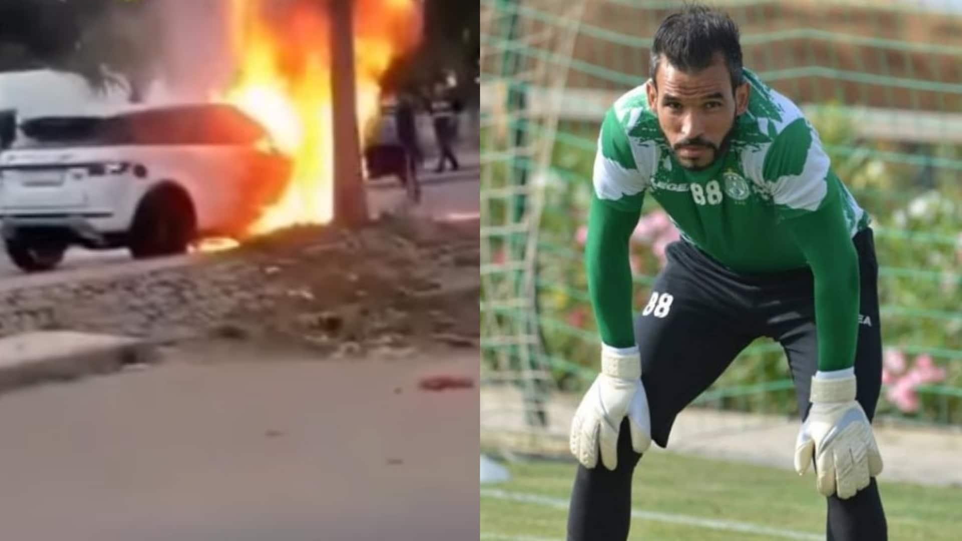 """بالفيديو: حارس الرجاء المغربي """"بوعميرة"""" ينجو بأعجوبة من حادث مروع بعد اشتعال سيارته"""