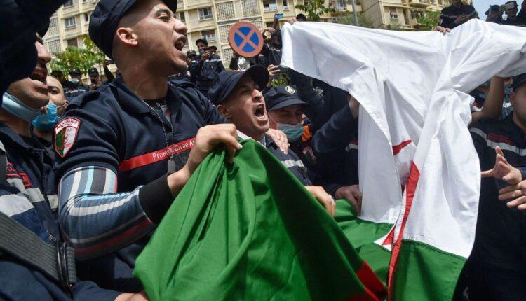 رجال الدفاع المدني يضربون في الجزائر
