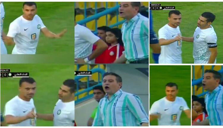 اللاعب محمود قاعود ومدرب فريق البنك الأهلي