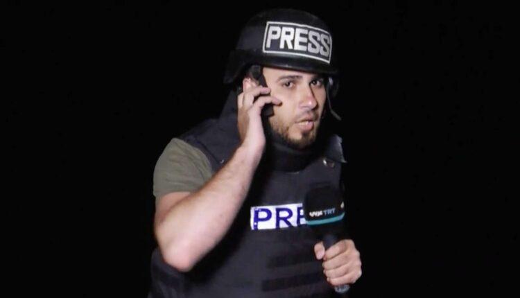 مراسل تي ار تي عربي التركية سامي برهوم ينجو من قصف اسرائيلي