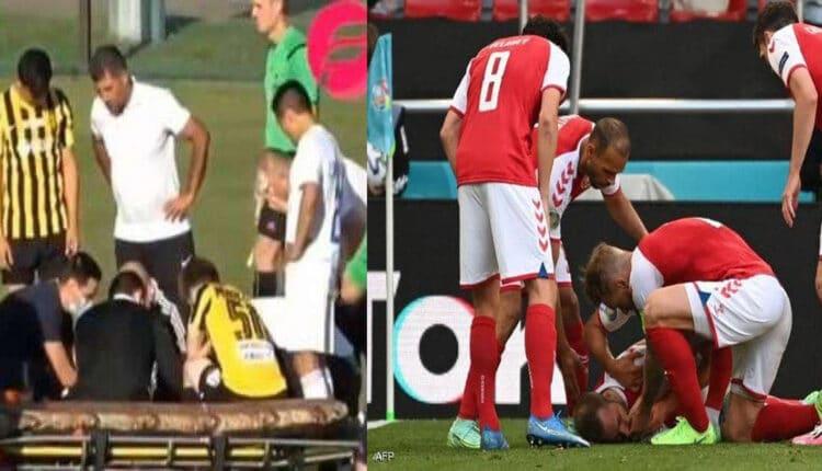 سقوط لاعب أخر مغشيا عليه بعد حادثة إريكسن