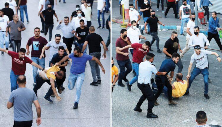 عناصر السلطة الفلسطينية يسحلون متظاهراً في رام الله