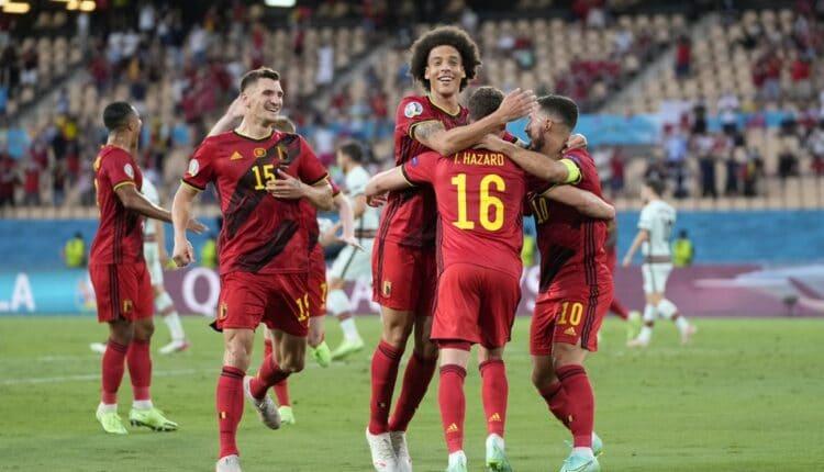 احتفال منتخب بلجيكا بعد تسجيله الهدف الوحيد في شباك البرتغال