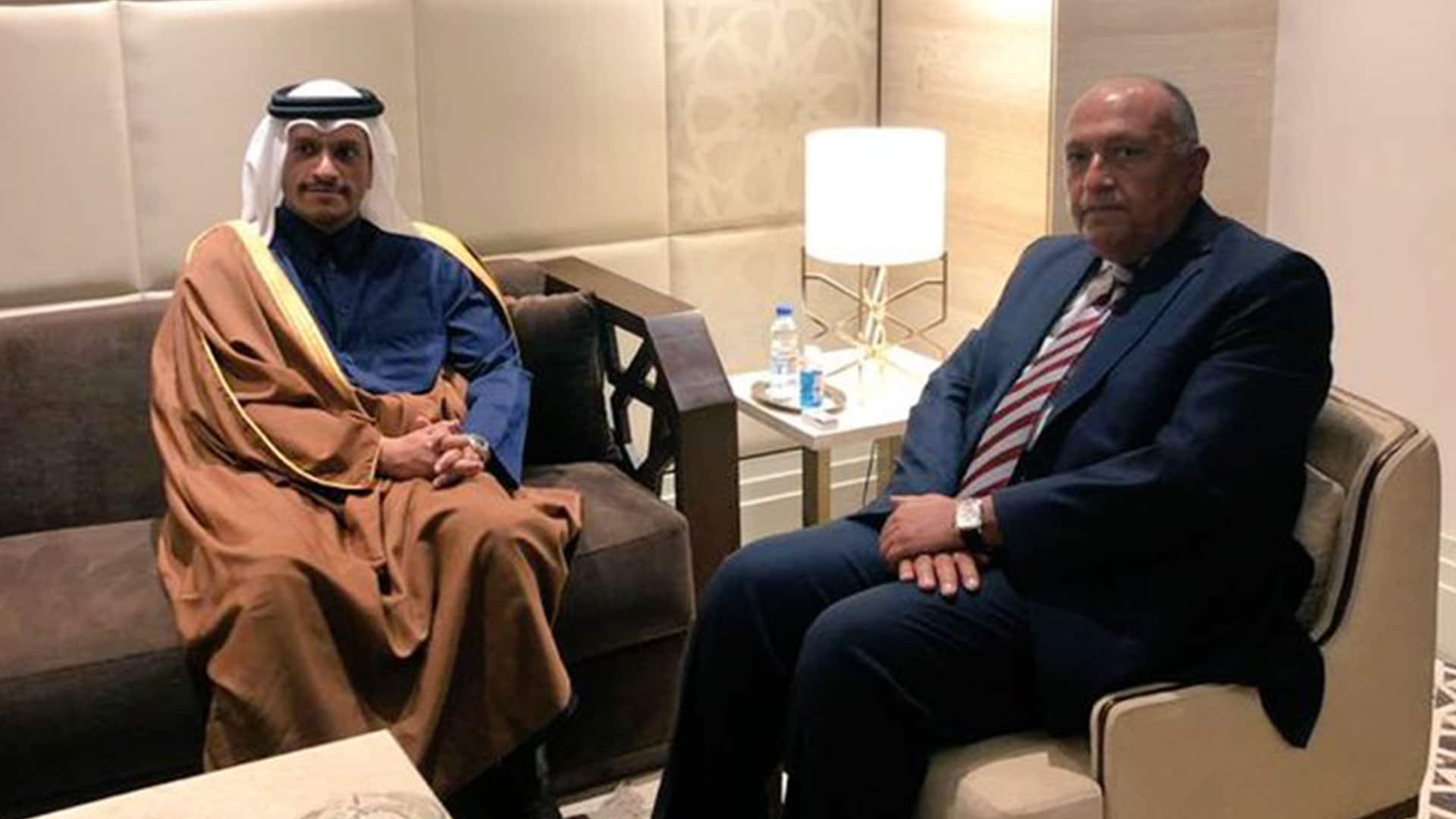 وزير خارجية قطر ونظيره المصري سامح شكري