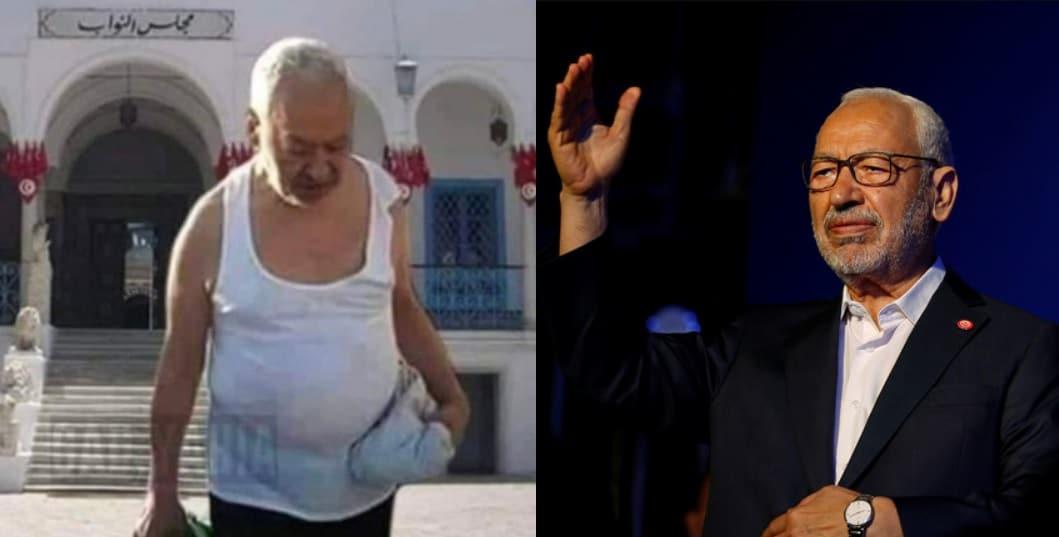 شاهد حقيقة صورة راشد الغنوشي بقميص داخلي أمام البرلمان التونسي