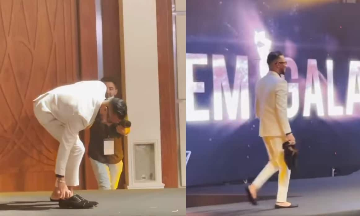 شاهدوا تصرف محمد رمضانالغريب على المسرح في دبي خوفاً من السقوط مرة أخرى!