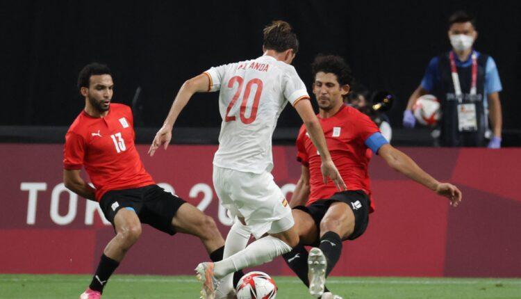 منتخب مصر الأولمبي ونظيره منتخب إسبانيا في أولمبياد طوكيو
