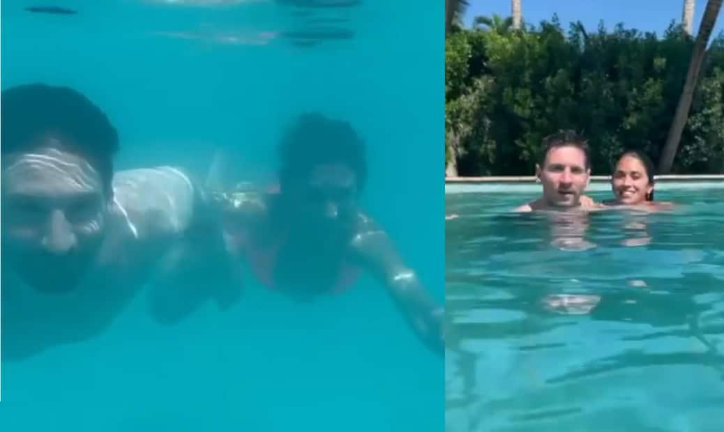 ميسي وزوجته يغوصان في الماء ويقبّلان بعضهما البعض