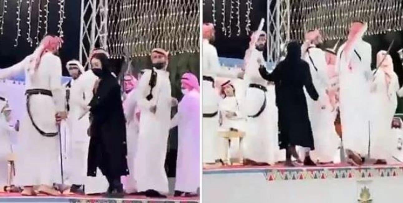 طرد فتاة في الباحة في السعودية بعدما اقتحمت مسرحاً لترقص (العرضة) مع الرجال