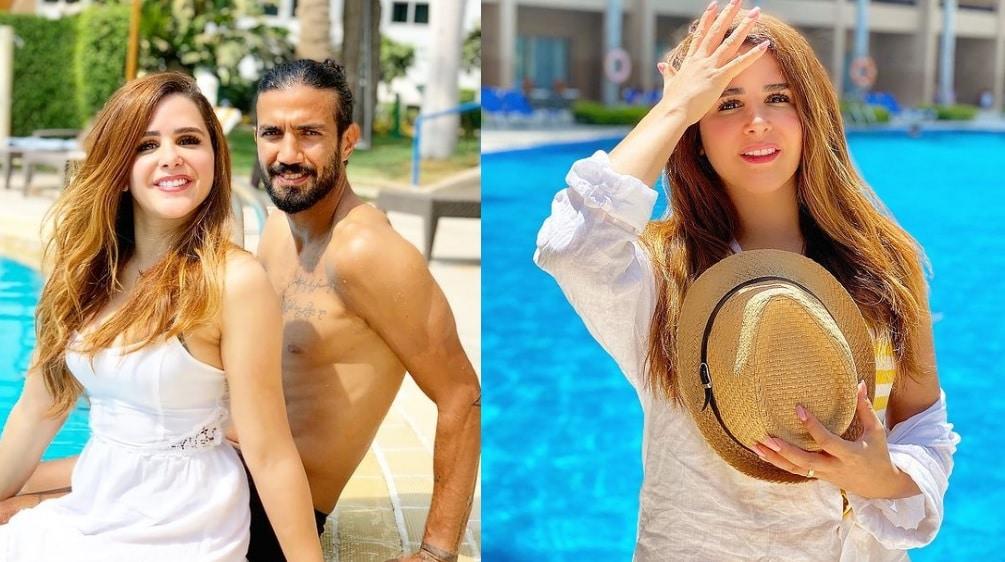 زوج الإعلامية شيما صابر يقبّلها في بركة سباحة .. ضجة جديدة بعدما حذفت فيديو مشابه!
