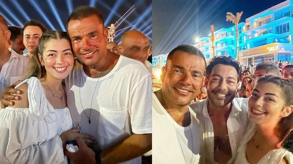 عمرو دياب يحتضن ملك أحمد زاهر في حفل بالساحل الشمالي