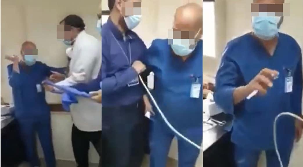 رئيس قسم العظام بجامعة عين شمس يأمر أحد الممرضين المسنين بالسجود لكلبه ويقوم بإهانته
