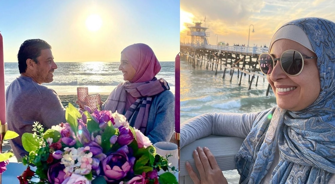 حنان ترك وزوجها محمود مالك على البحر