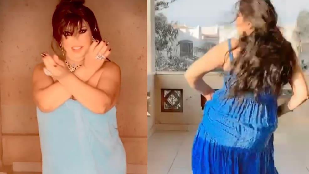 """فيفي عبده تردّ على البلاغ ضدّ رقصها بـِ""""المنشفة"""" بفيديو رقص جديد بفستان أزرق (شاهد)"""