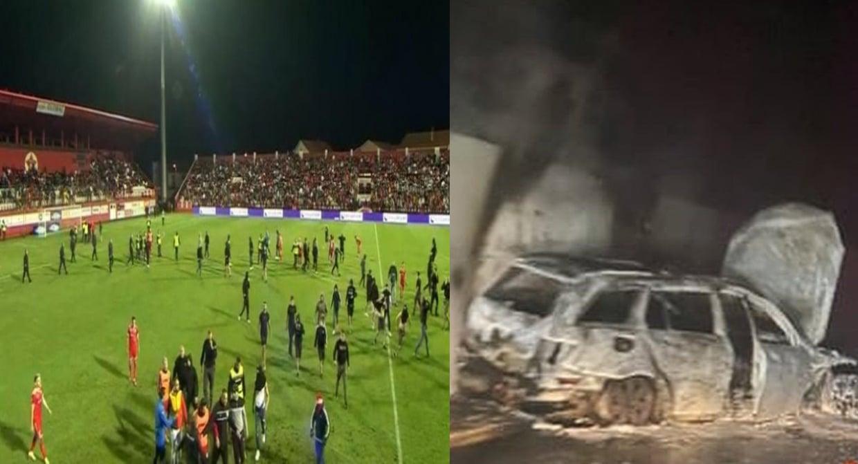مشجعون غاضبون يحرقون سيارة حكم مباراة كرة القدم بعد خسارة فريقهم (فيديو)