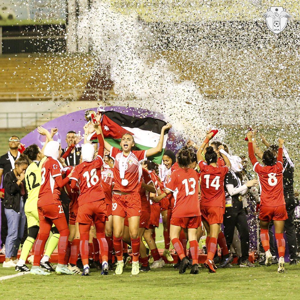 الملكة رانيا العبدالله وتهنئة منتخب الأردن بعد التتويج بلقب بطولة العرب للسيدات 2021